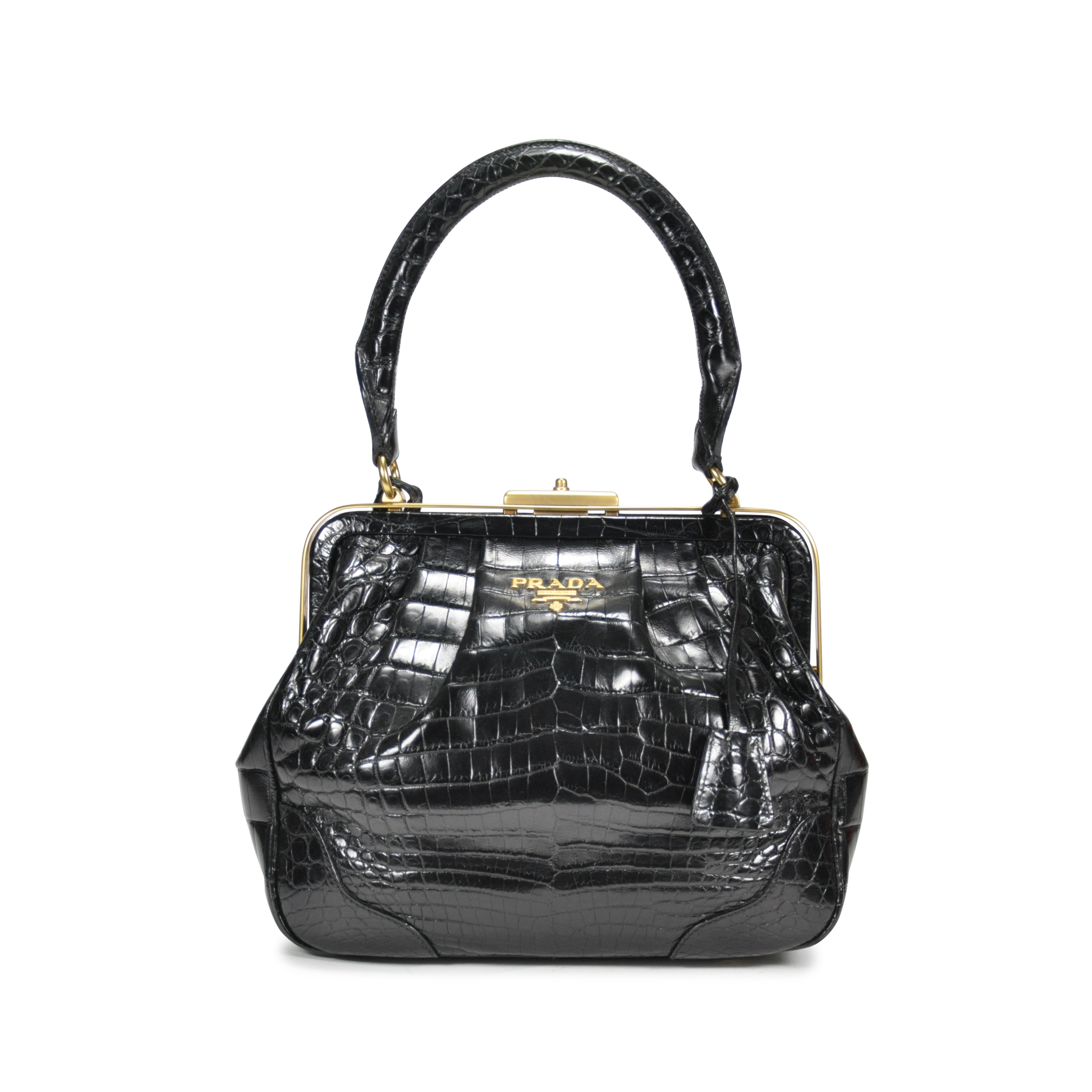 c7e89a4fab19 Authentic Second Hand Prada Crocodile Top Handle Frame Bag (PSS-145-00076)