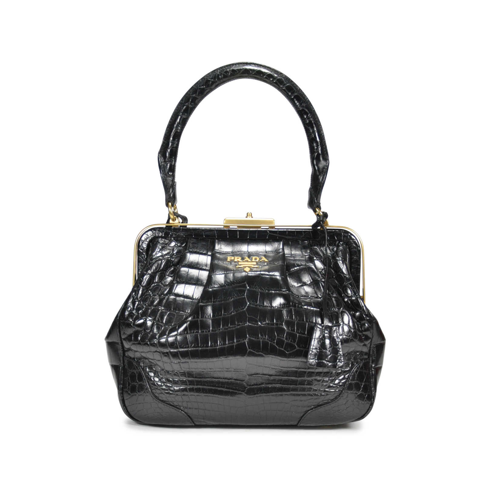 Authentic Second Hand Prada Crocodile Top Handle Frame Bag (PSS-145-00076)  ... d4823058c3c10