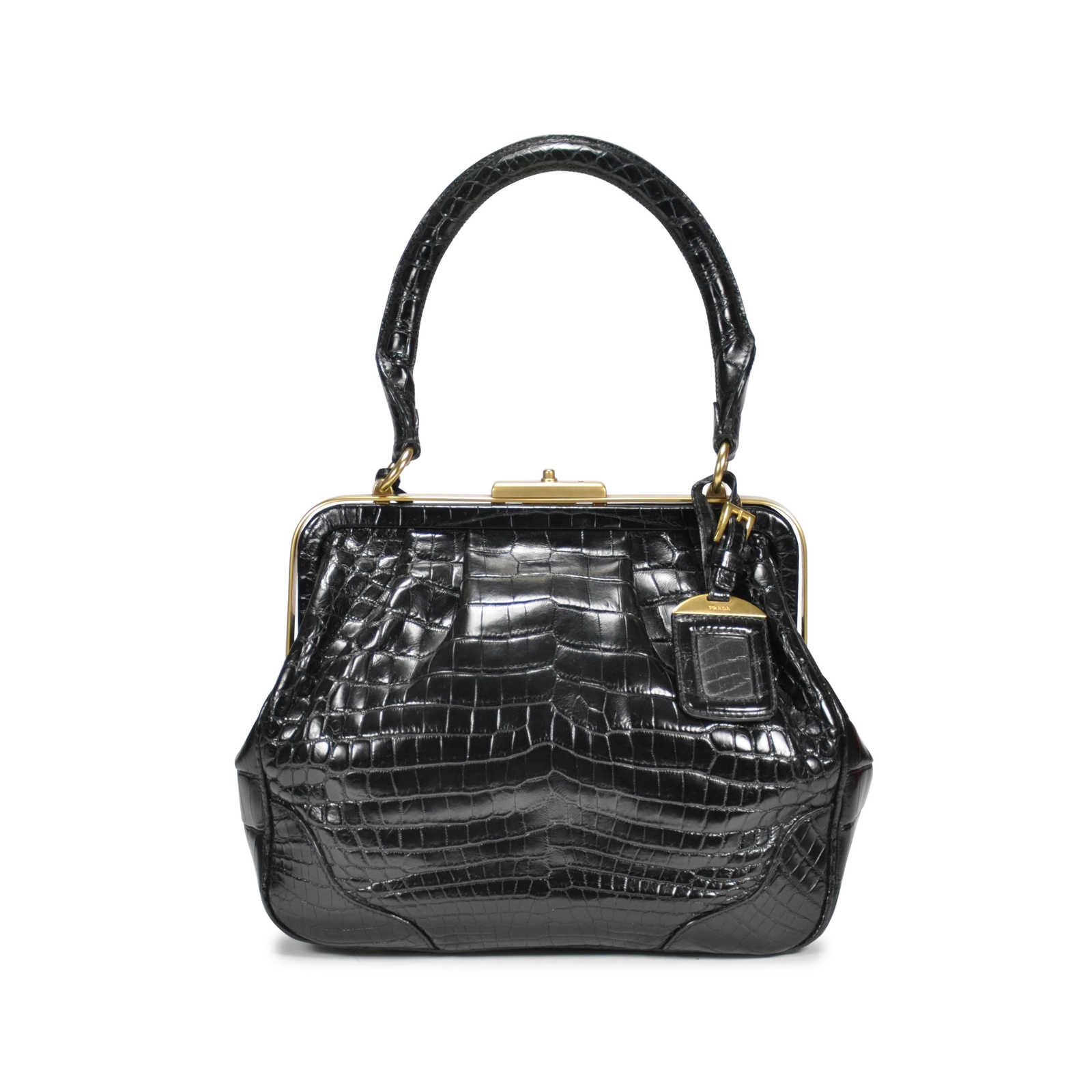 750197a8f847 ... Authentic Second Hand Prada Crocodile Top Handle Frame Bag  (PSS-145-00076) ...