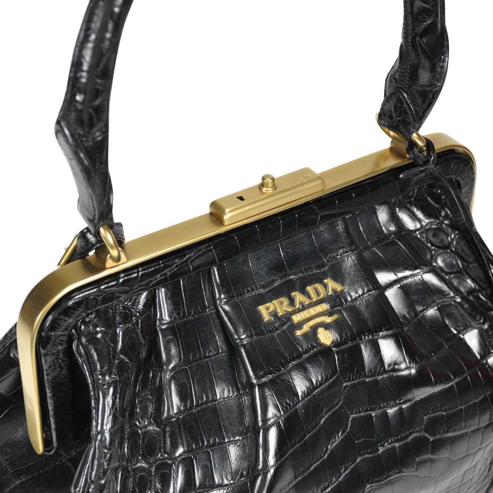 da83cf47dddd ... Authentic Second Hand Prada Crocodile Top Handle Frame Bag  (PSS-145-00076) ...