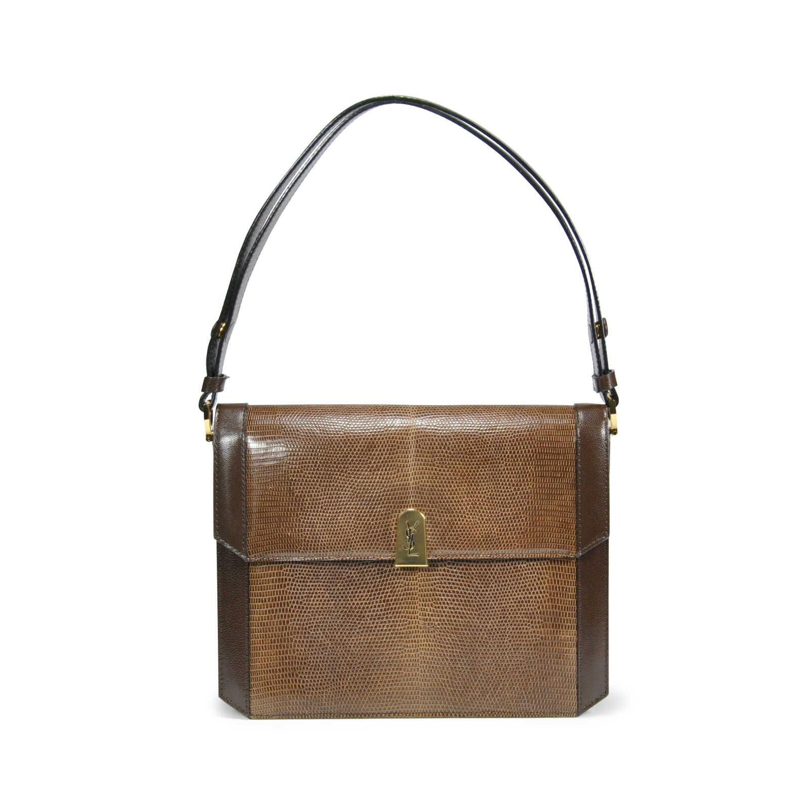 38da02e65144 Authentic Vintage Yves Saint Laurent Lizard Accordian Bag (PSS-199-00001)  ...