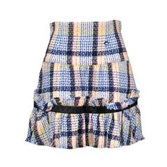 Ruffle Hem Tweed Skirt