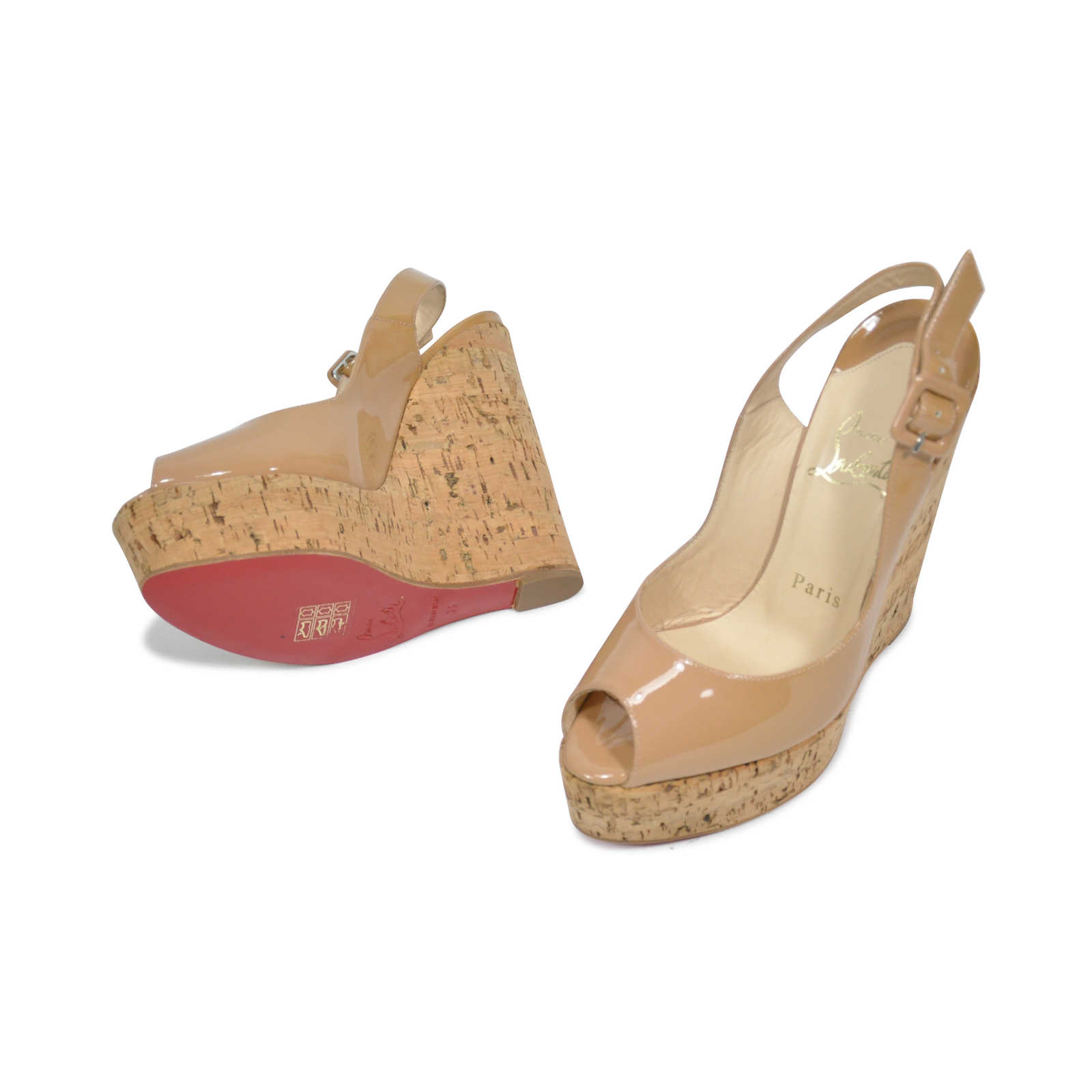 d9a6f8d7980a ... Authentic Second Hand Christian Louboutin Une Plume Wedges  (PSS-209-00003) ...