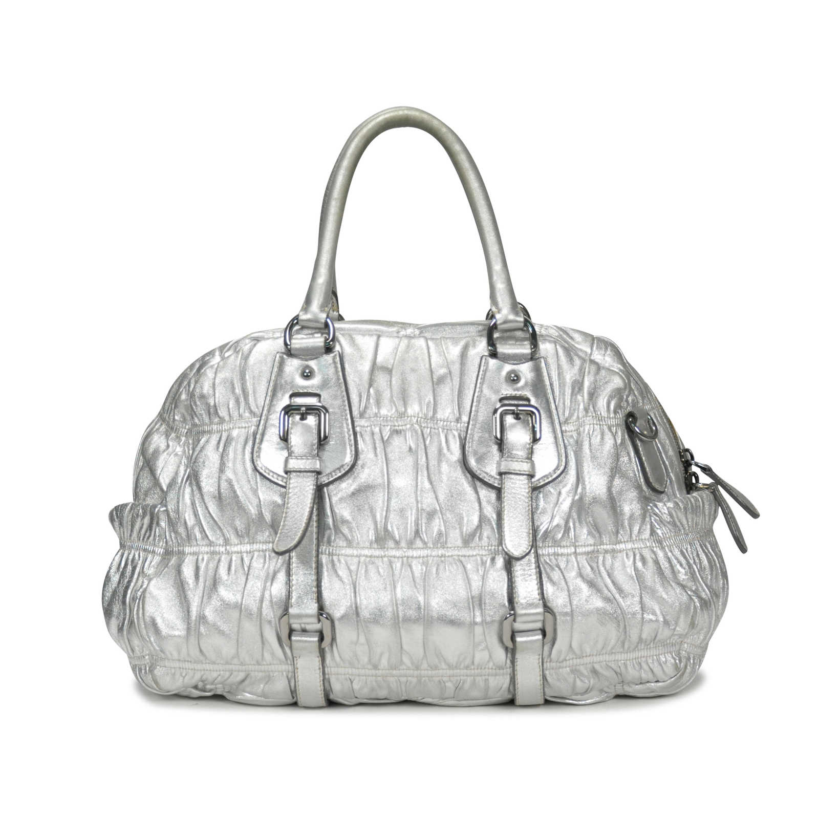 2efb44881214d5 ... Authentic Second Hand Prada Nappa Leather Gaufre Bauletto  (PSS-053-00017) ...