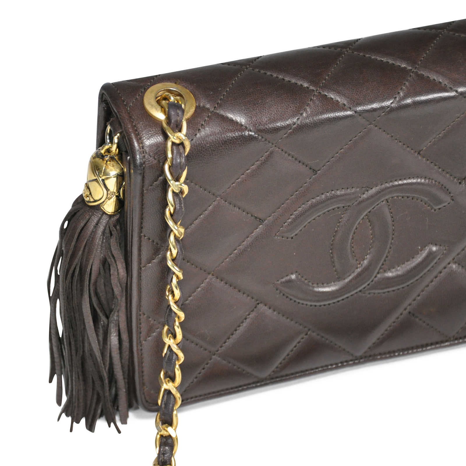 731b4cf04c16 ... Authentic Vintage Chanel Quilted Lambskin Tassel Flap Bag  (PSS-053-00012) ...