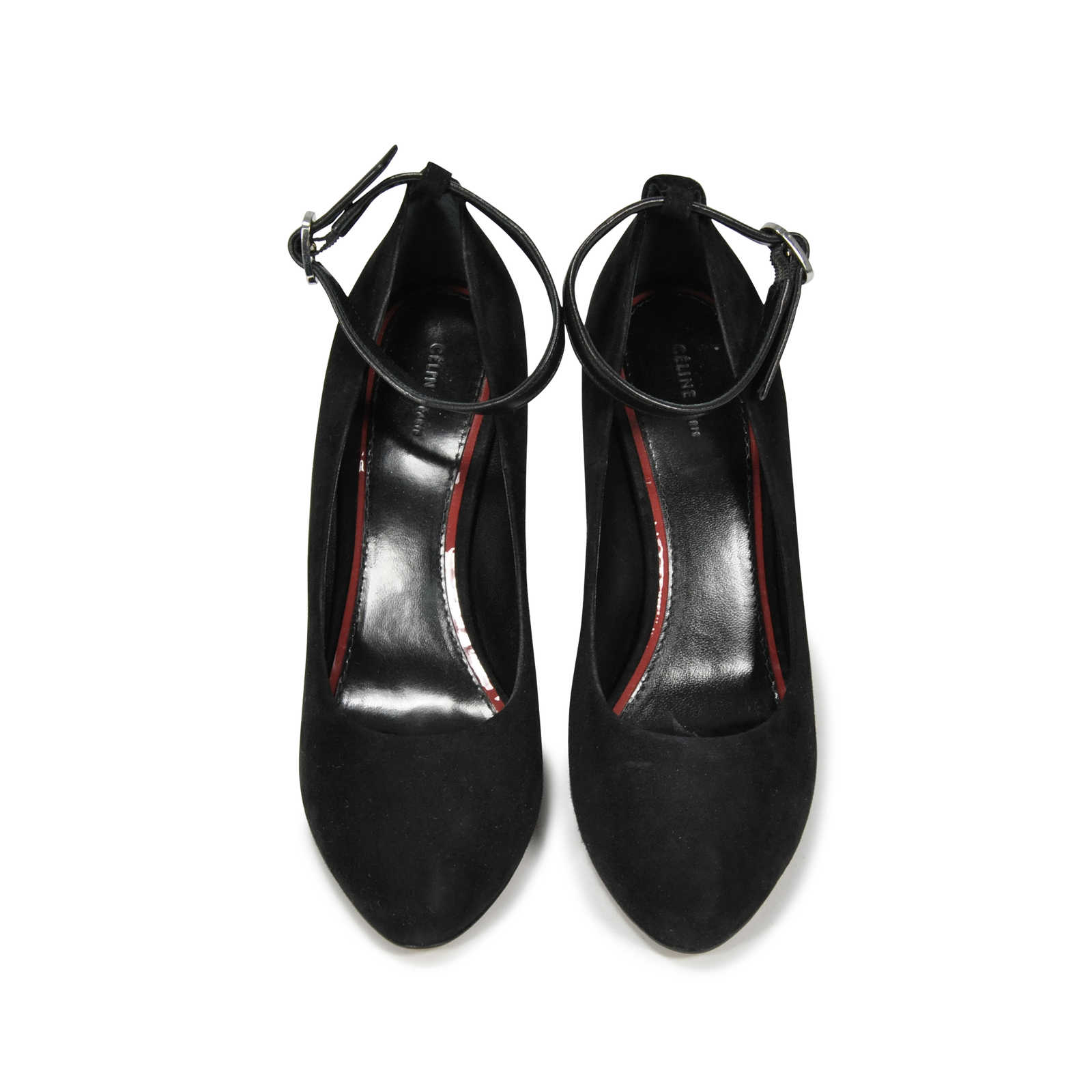 Authentic Pre Owned Cline Colourblock Wedge Pumps Pss 214 00006 Mary Janes Straps Circle Block Pointed Toe Wedges Shoes Black Thumbnail