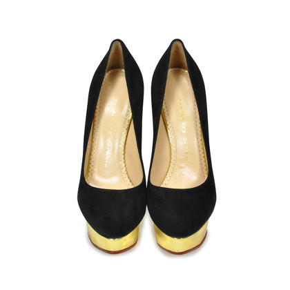 Authentic Second Hand Charlotte Olympia Dolly Suede Platform Pumps (PSS-183-00057)