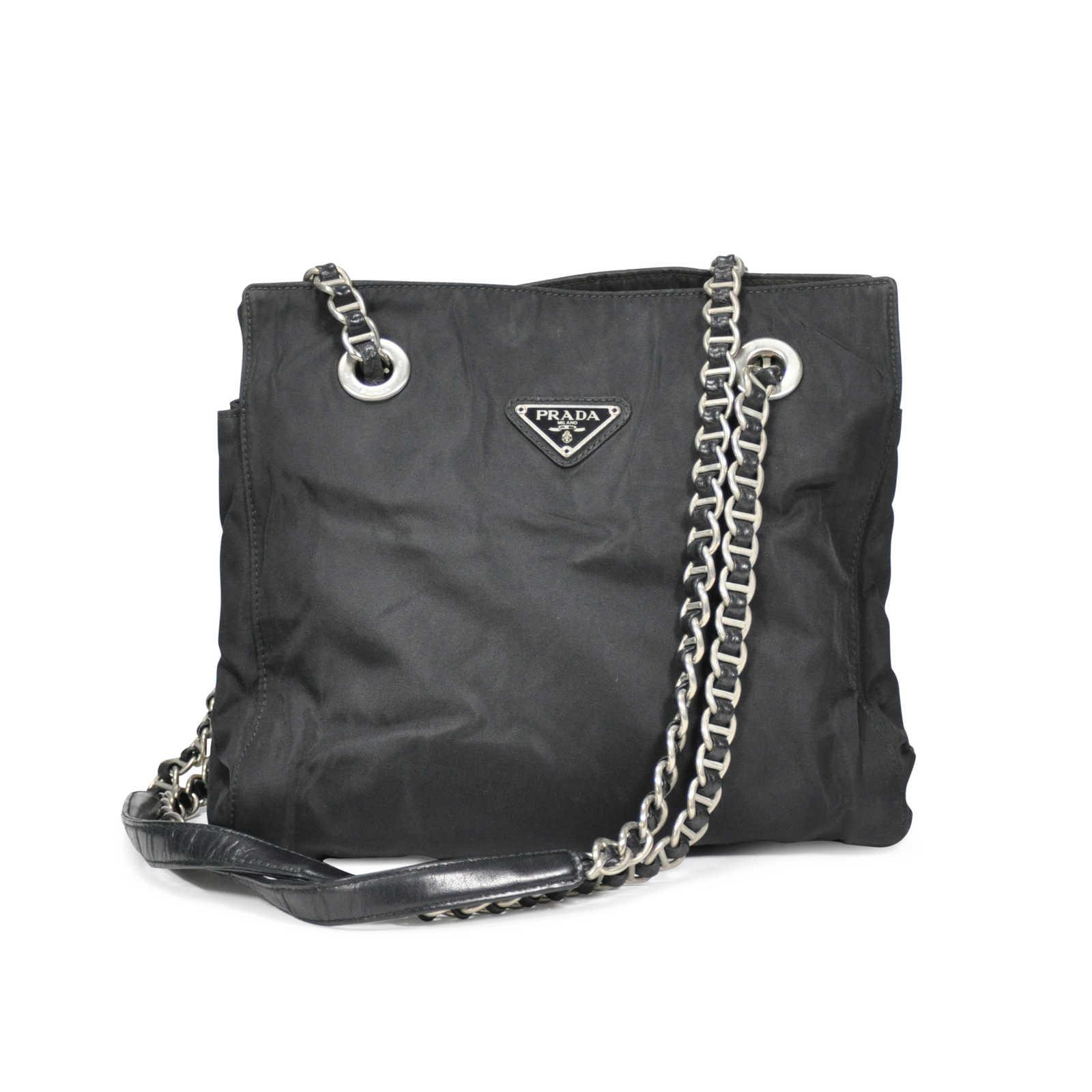 64d96dc370586a Authentic Vintage Prada Chain Link Shoulder Bag (PSS-233-00005) - Thumbnail  ...