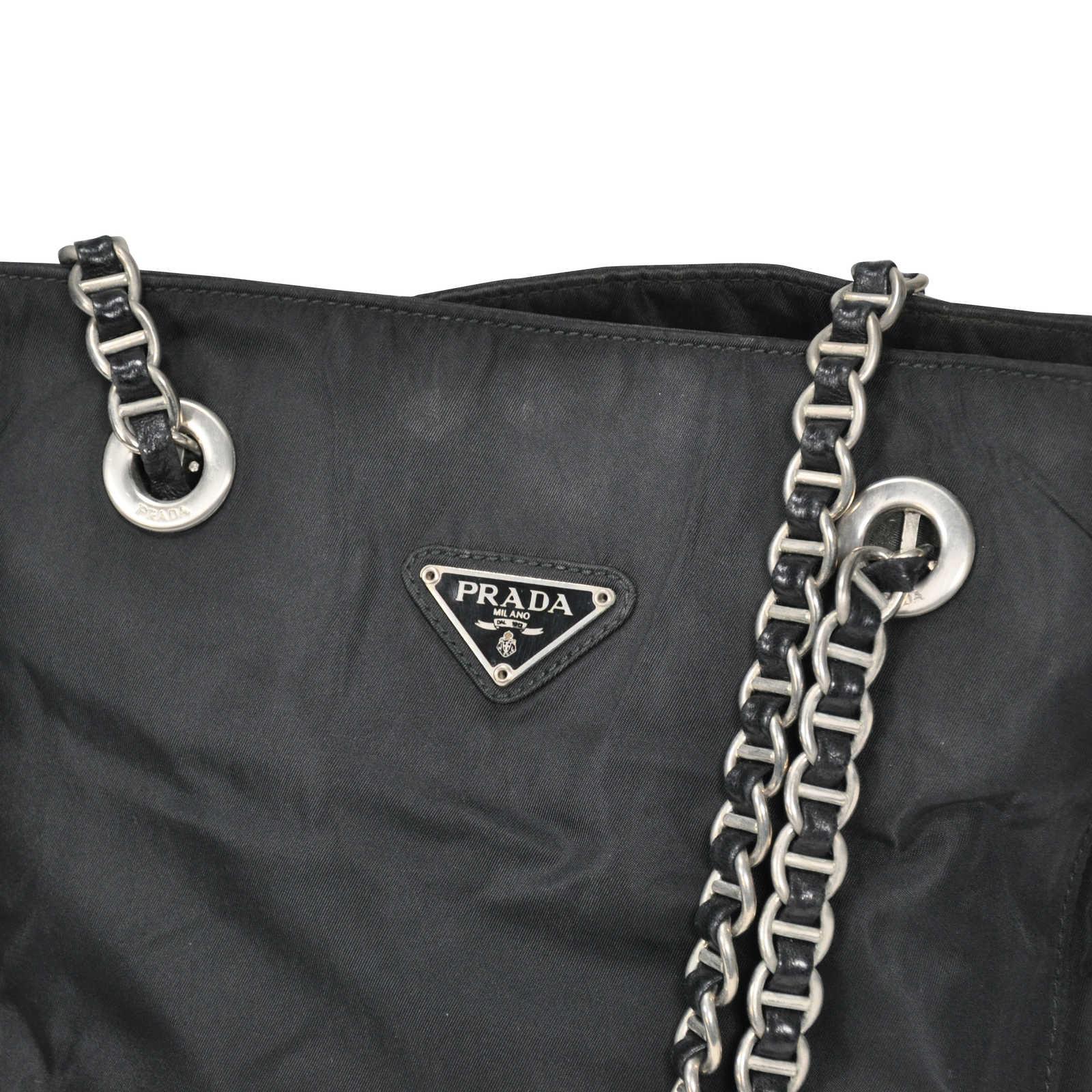 second hand prada chain link shoulder bag the fifth collection. Black Bedroom Furniture Sets. Home Design Ideas