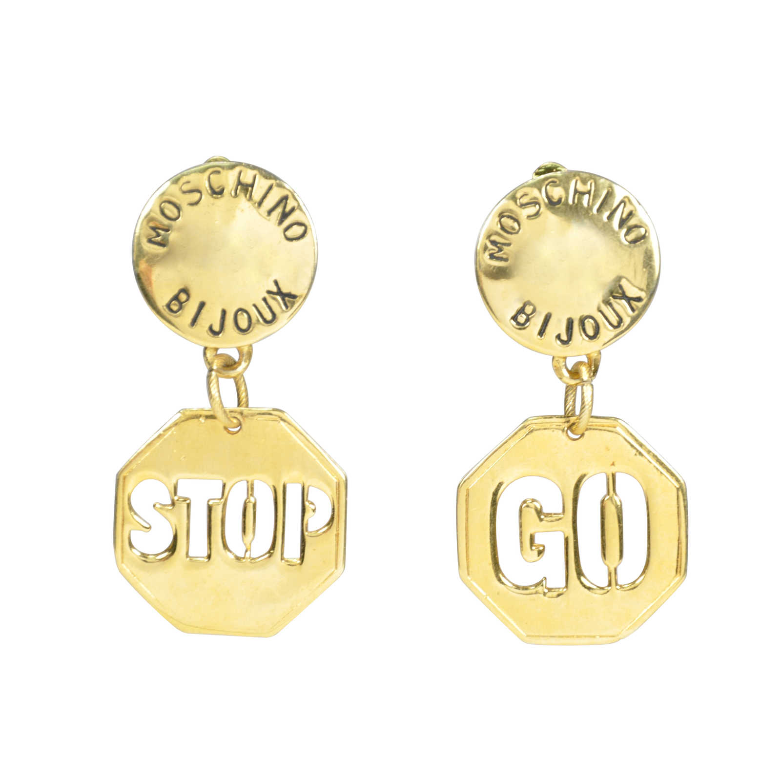 authentic vintage moschino stop go earrings tfc 106 00007 the fifth collection. Black Bedroom Furniture Sets. Home Design Ideas