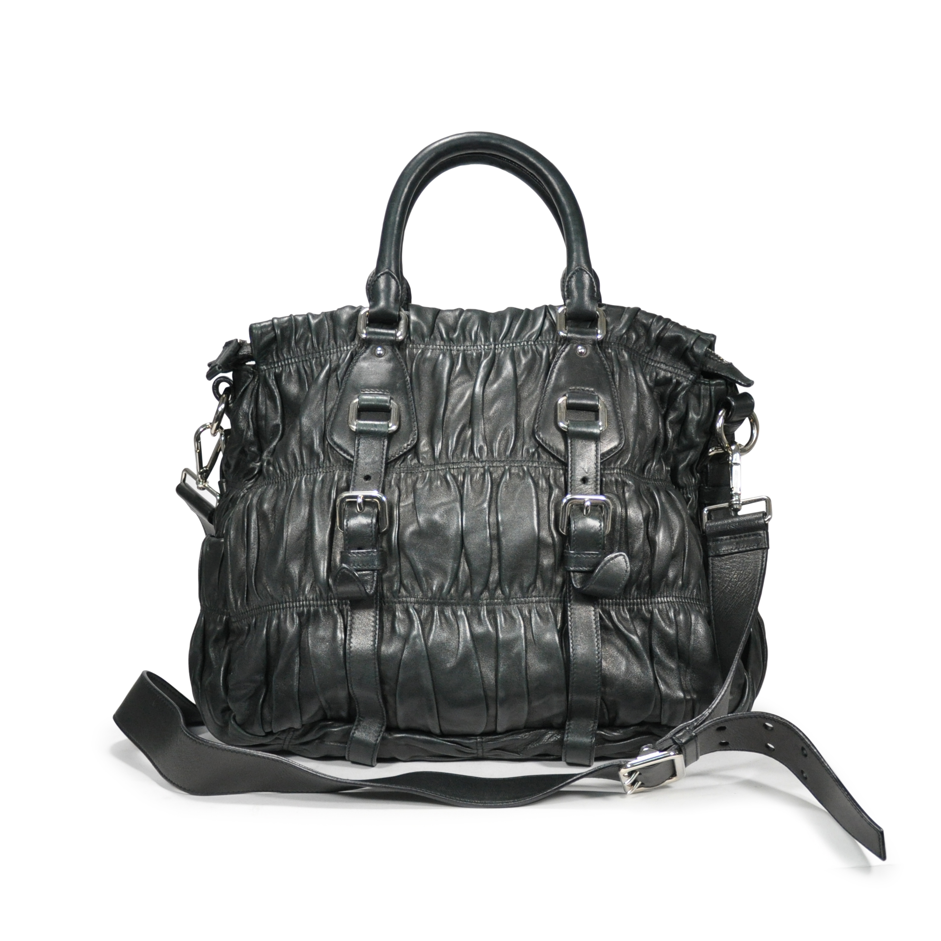 159579d76c53 Authentic Second Hand Prada Nappa Gaufre Leather Satchel (PSS-200-00031) |  THE FIFTH COLLECTION