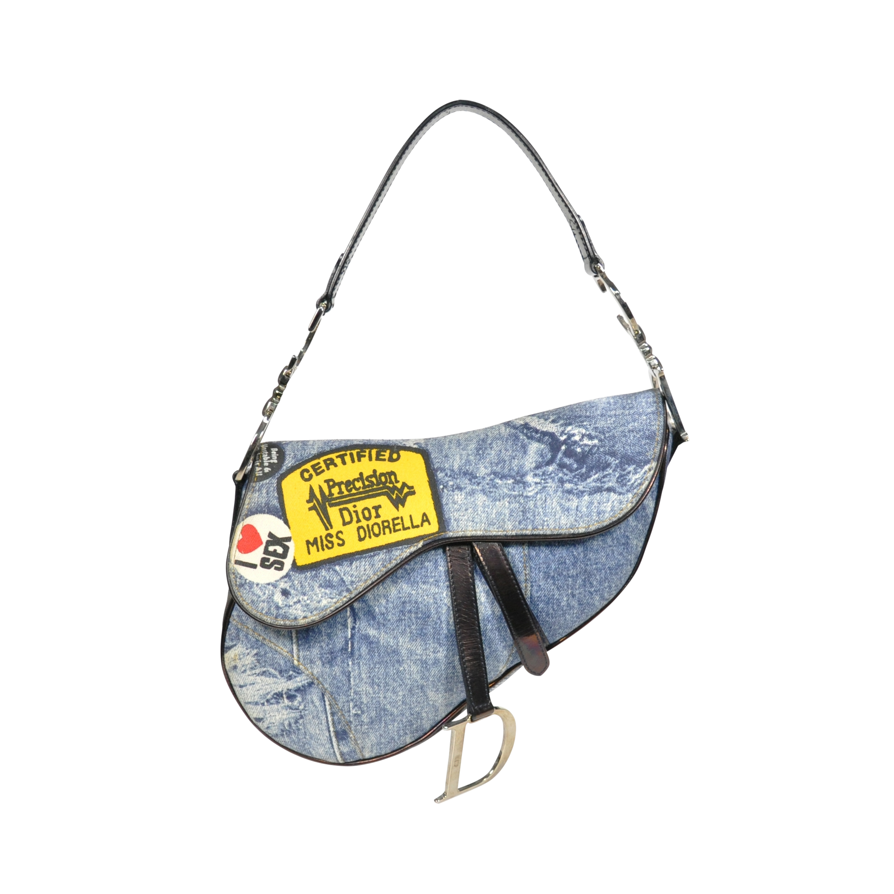 11c74be18b6a Authentic Second Hand Christian Dior Denim Print Saddle Bag (PSS-240-00041)