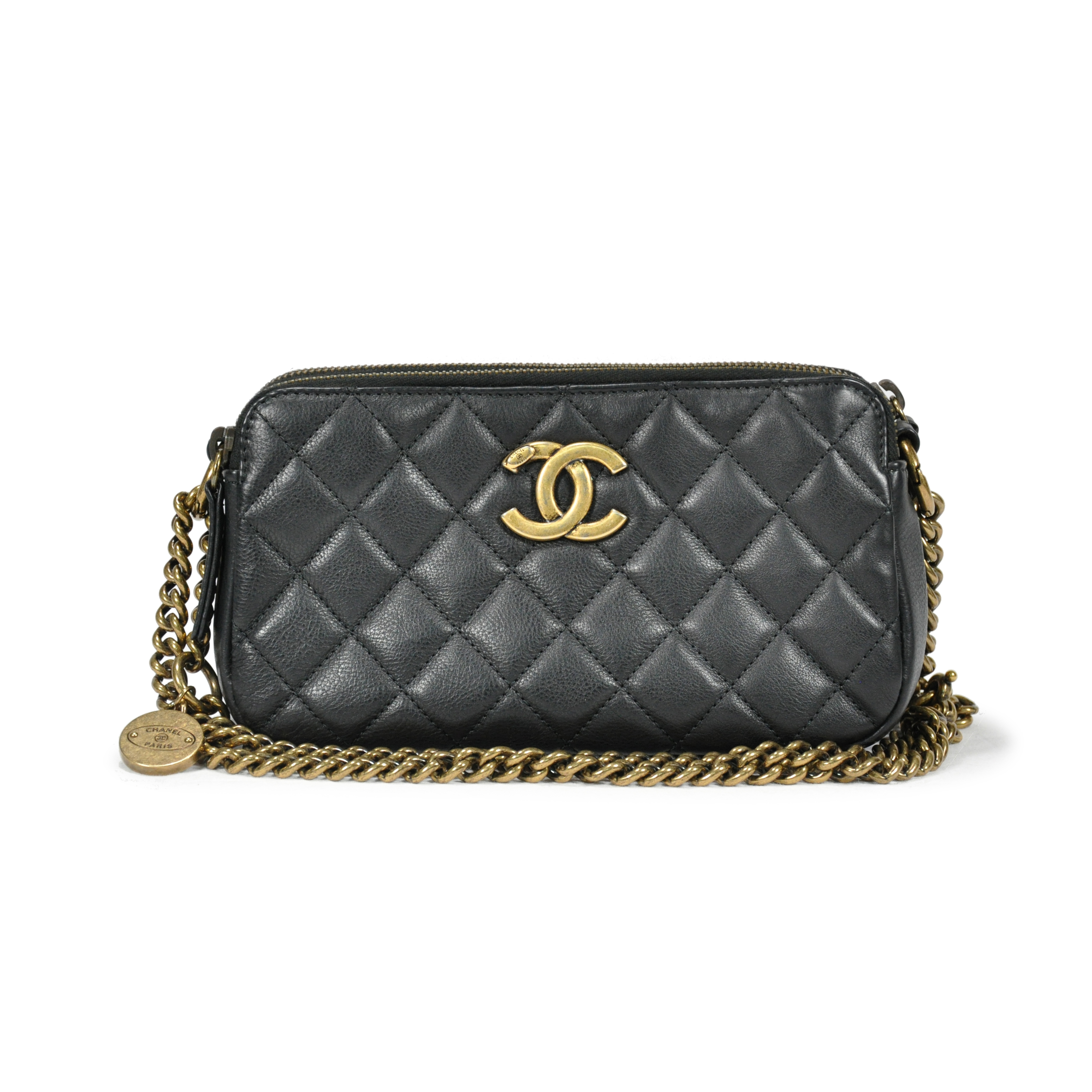 fbb225271141 Authentic Second Hand Chanel CC Crown Double Zip bag (PSS-145-00088) | THE  FIFTH COLLECTION