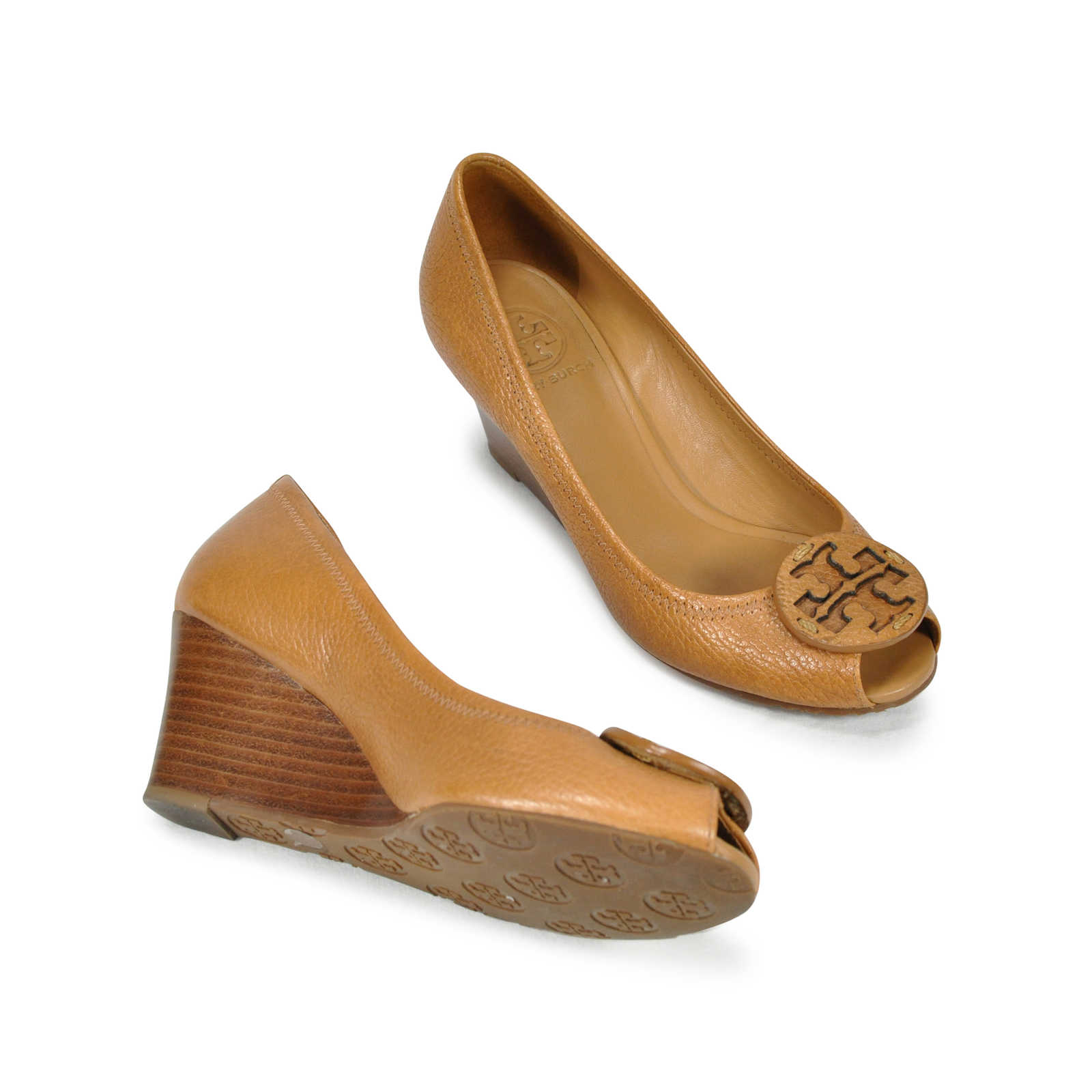 51cf91d62 ... Authentic Second Hand Tory Burch Sally Peep Toe Wedges (PSS-243-00003)  ...