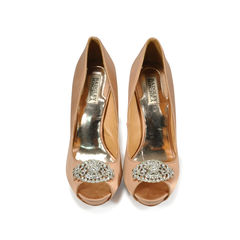 Crystal Front Satin Pumps