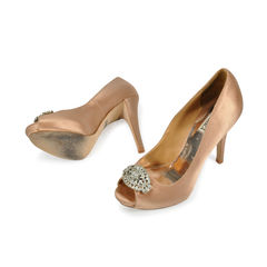 Badgley mischka crystal front satin pumps 2
