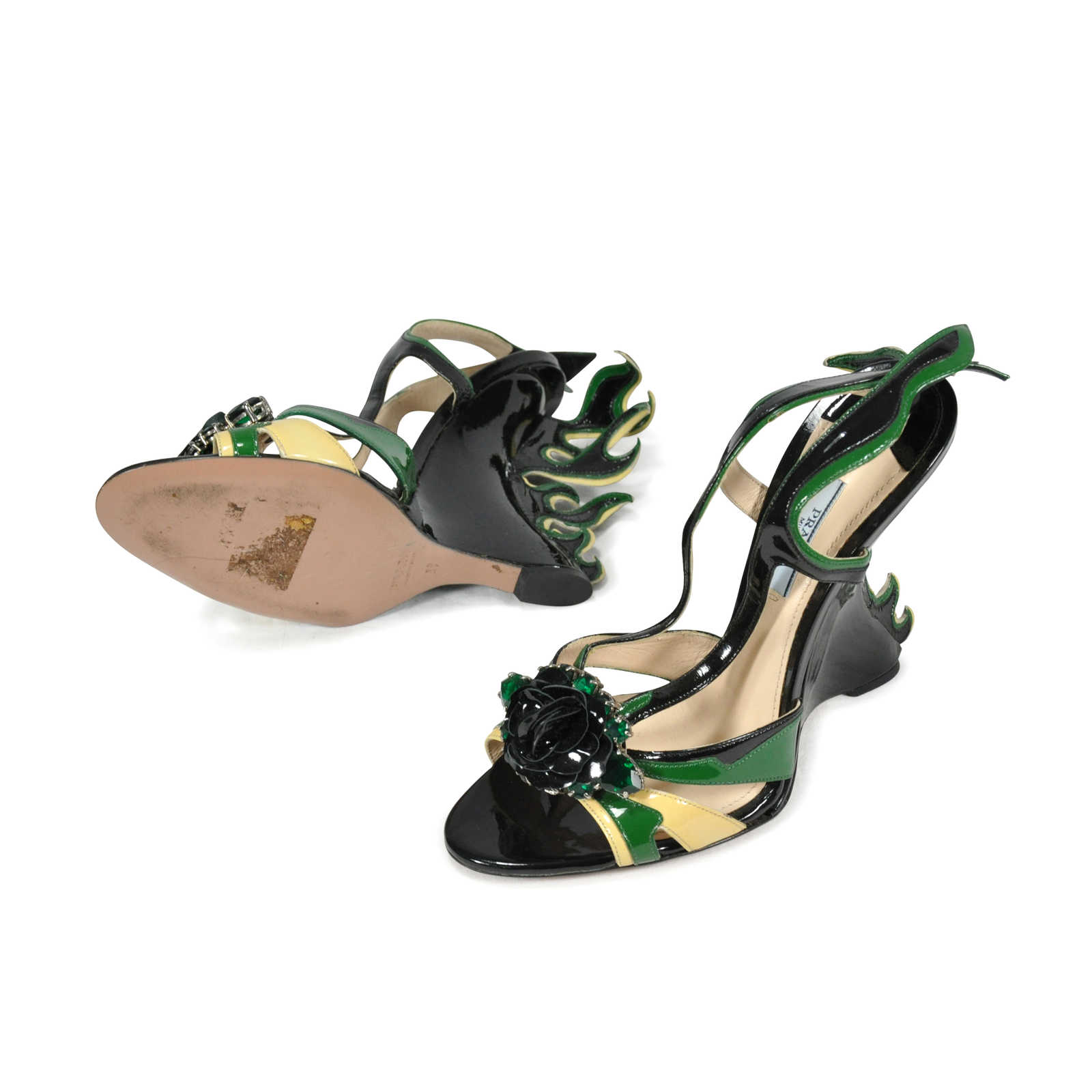 3711f689cffe ... Authentic Pre Owned Prada Flame Wedge Sandals (PSS-244-00006) -  Thumbnail ...