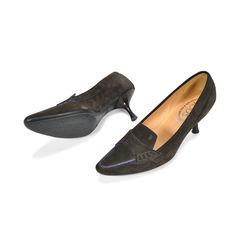Tod s blue trim suede kitten heels 2