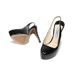 Prada black patent leather platform slingbacks 2