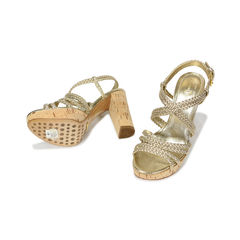 Car shoe metallic braided cork platform sandals 2