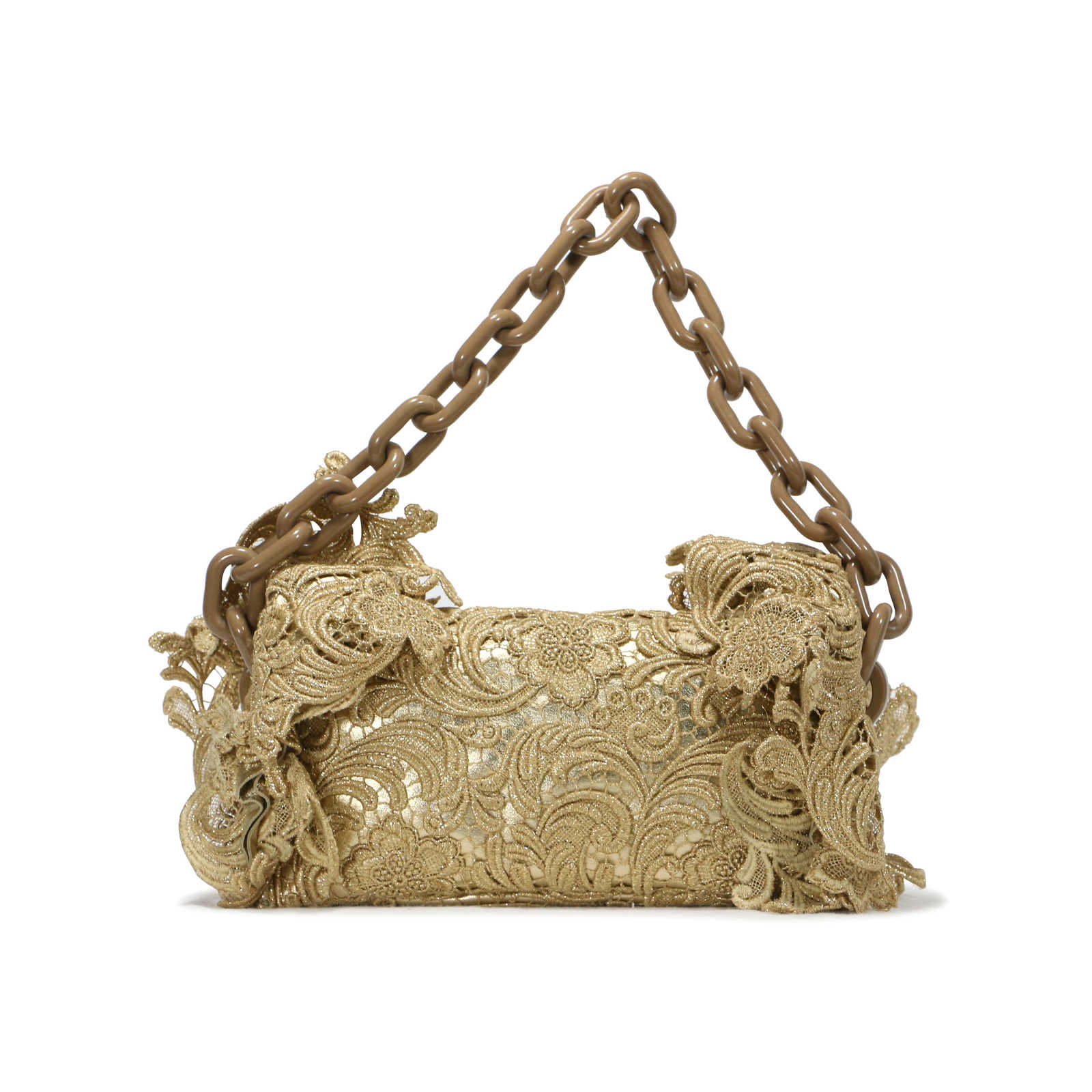 449ebaec2a9f5a ... Authentic Second Hand Prada Gold Oro Lace Pizzo Shoulder Bag (PSS-241- 00026 ...