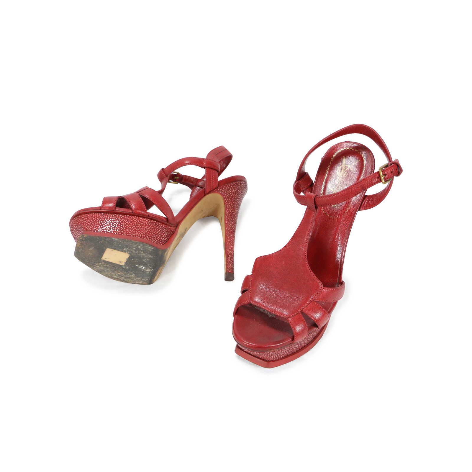 d2f53f989f ... Authentic Second Hand Yves Saint Laurent Stingray Tribute 105 Sandals  (PSS-088-00032 ...