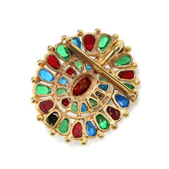 Chanel brooch pendant gripoix 2005 blue green red 2