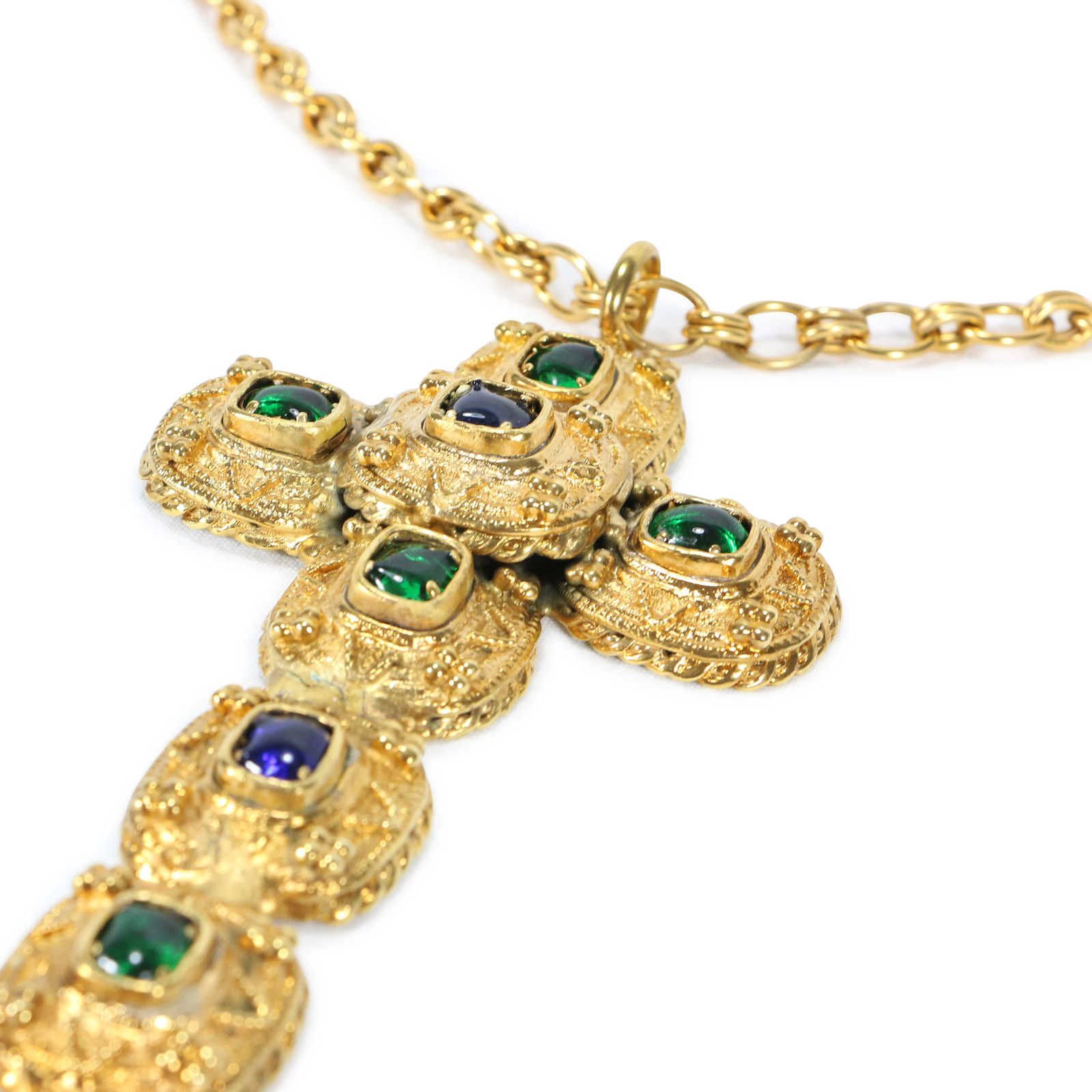 Authentic Vintage Chanel Byzantine Large Cross Necklace (TFC