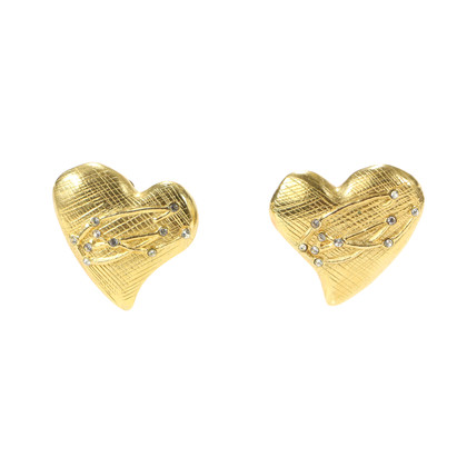 Authentic Vintage Christian Lacroix Brushed Metal Stone Heart Earrings (TFC-203-00032)
