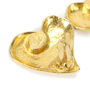 Authentic Vintage Christian Lacroix Brushed Metal Stone Heart Earrings (TFC-203-00032) - Thumbnail 2