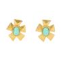 Authentic Vintage Christian Lacroix Flower Turquoise Earrings (TFC-203-00033) - Thumbnail 0