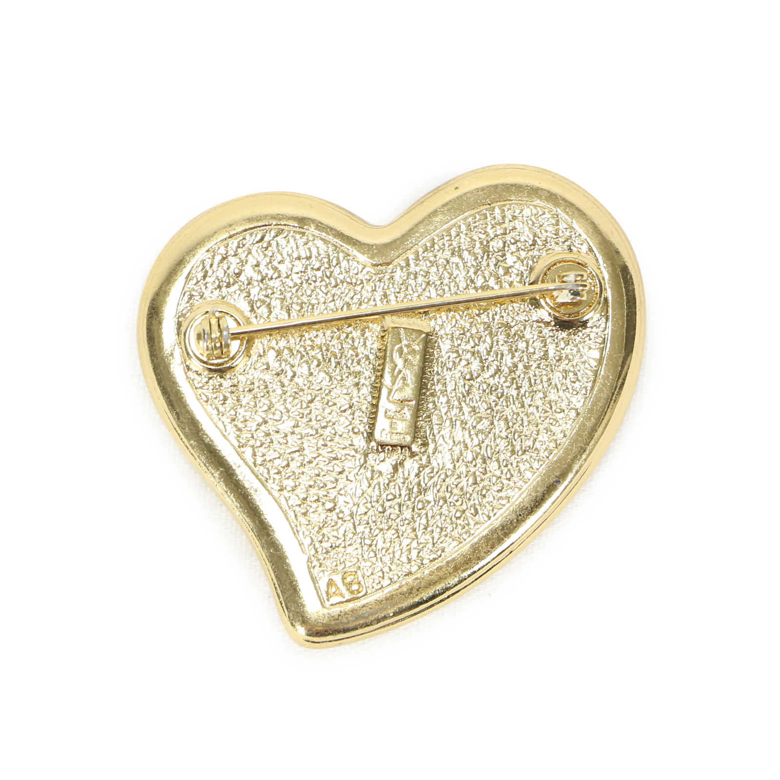 Authentic Vintage Yves Saint Laurent Wood Heart Brooch
