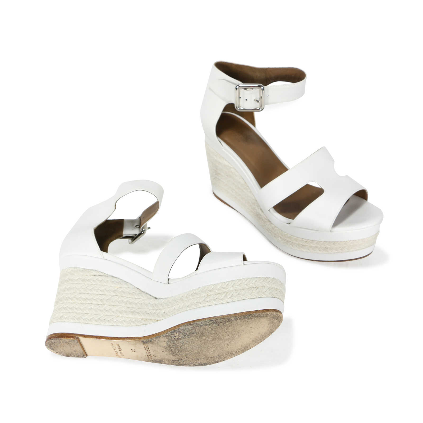 free shipping professional Hermès Leather Wedge Espadrilles professional sale online cheap lowest price outlet explore Grey outlet store online lIgoMJ7