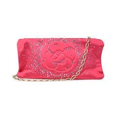 Satin Camellia Crystal Evening Bag