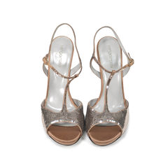 Sequinned T-Strap Sandals