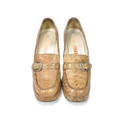 Snakeskin Loafer Pumps