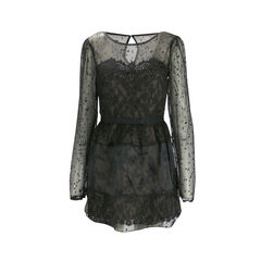 Chiffon Fil Coupé And Lace Dress