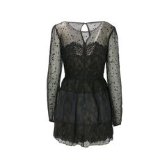 Marchesa notte silk blend chiffon fil coup and lace dress 2