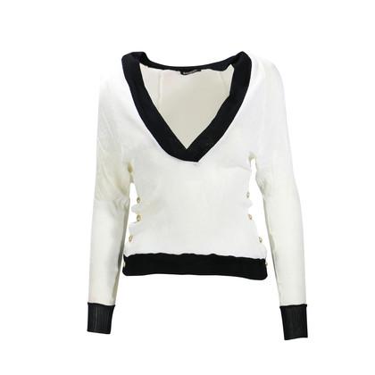 Authentic Second Hand Balmain Button Detail Piqué Sweater (PSS-200-00084)
