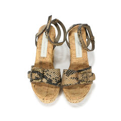 Faux Snakeskin And Cork Sandals