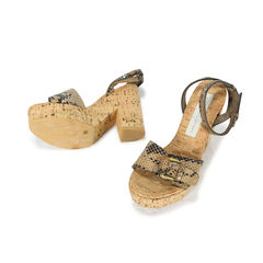 Stella mccartney faux snakeskin and cork sandals 2