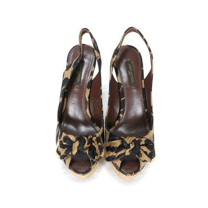 Authentic Second Hand Louis Vuitton Leopard Print Wedge Sandals (PSS-200-00238)