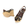 Authentic Second Hand Louis Vuitton Leopard Print Wedge Sandals (PSS-200-00238) - Thumbnail 1