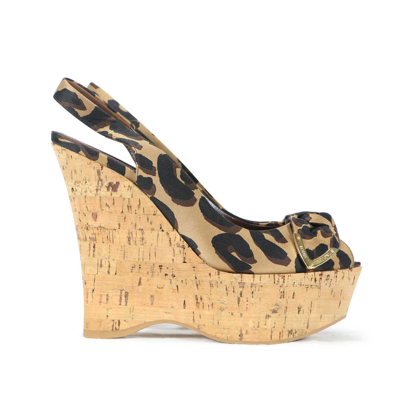 d620da9226 ... Authentic Second Hand Louis Vuitton Leopard Print Wedge Sandals  (PSS-200-00238) ...
