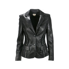 Stud Panelled Leather Jacket