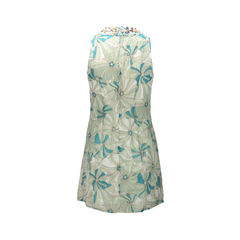 Patrizia pepe light green floral abstract dress with open cut out 2