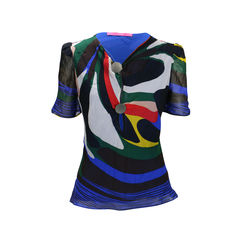 Multicoloured Chiffon Blouse with Metallic Plates