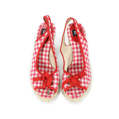 Checkered Espadrille Wedges