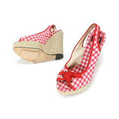 D g checkered peep toe espadrille wedges 2