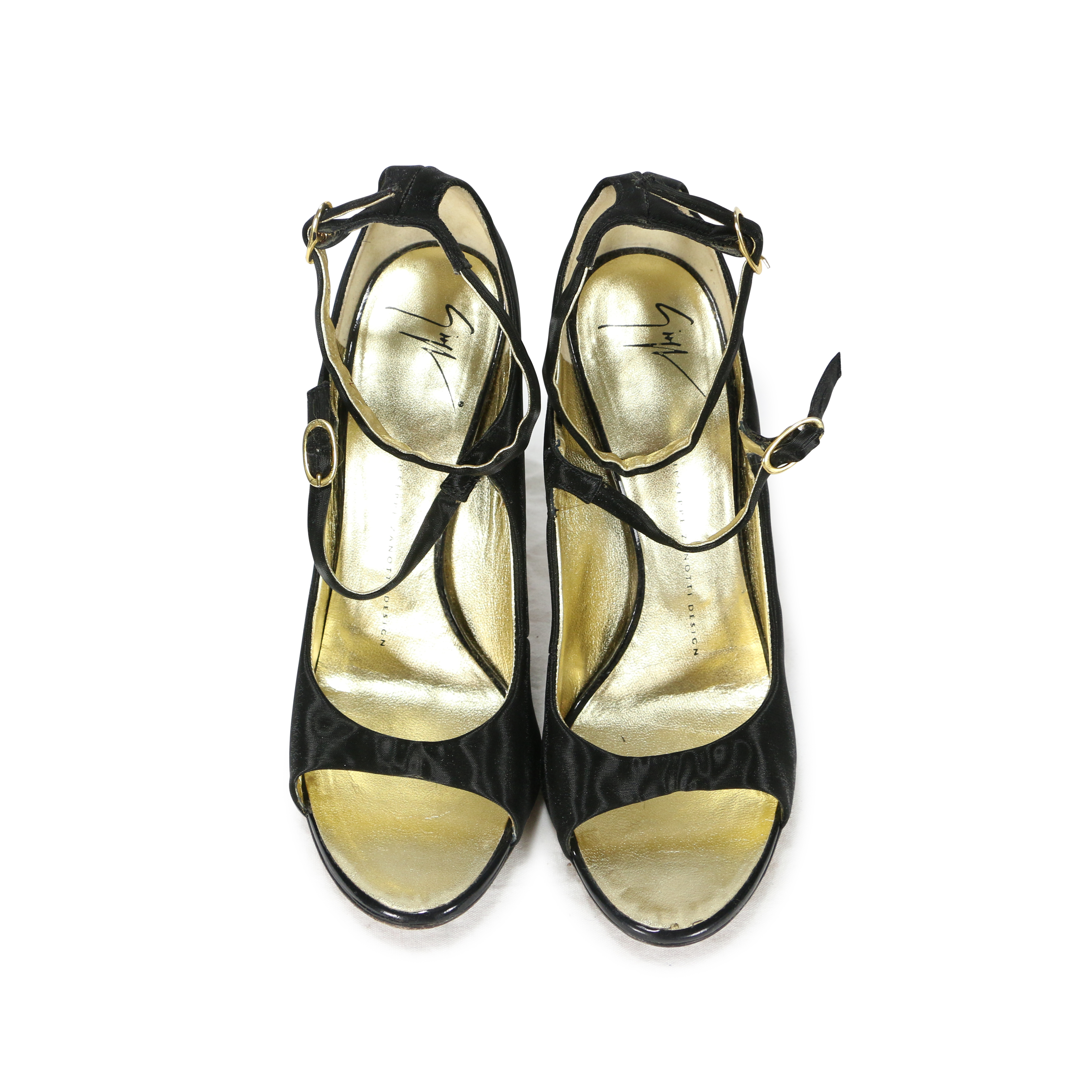 560d74c43b40b Authentic Second Hand Giuseppe Zanotti Wrapped Leaf Gold Heel Peep Toes  (PSS-200-00256) - THE FIFTH COLLECTION